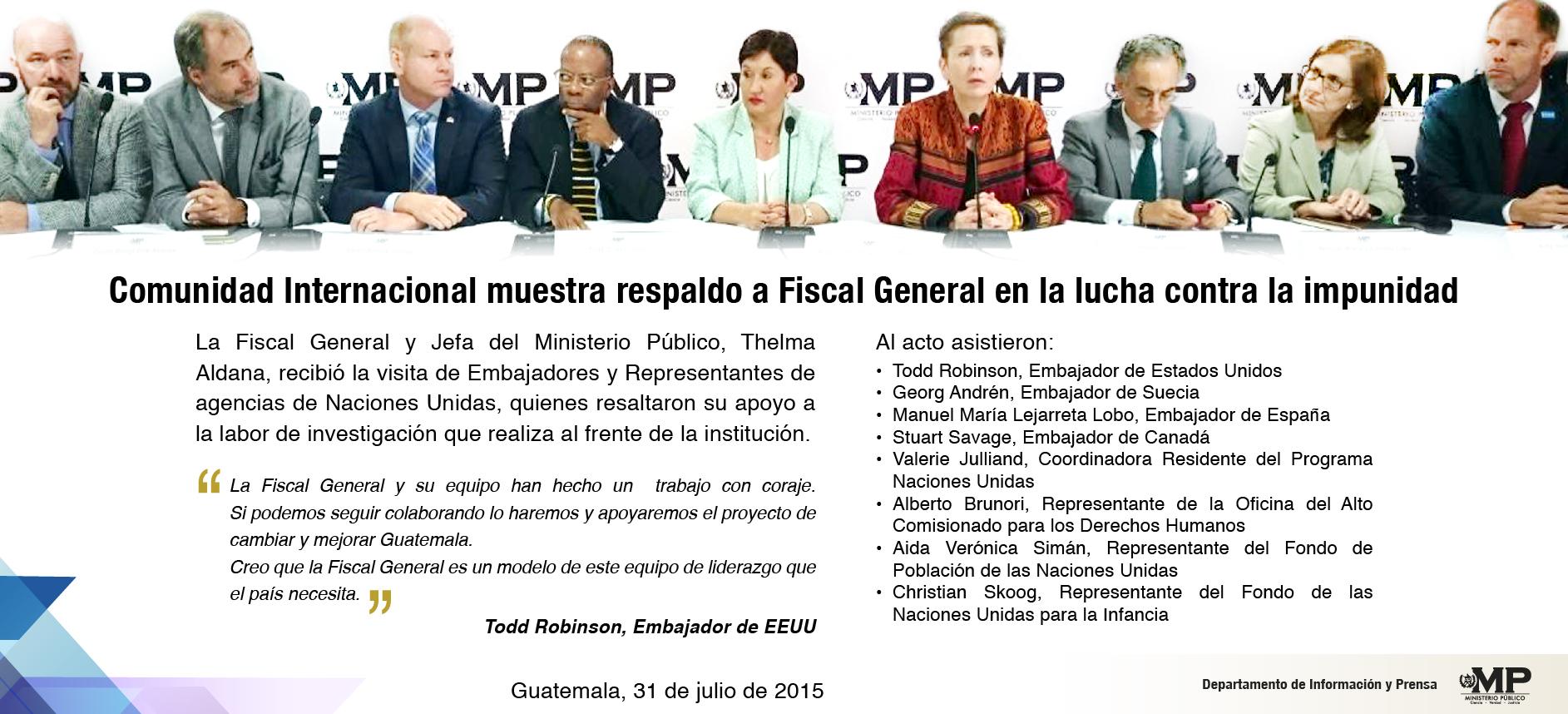 Comunidad Internacional muestra respaldo a Fiscal General en lucha contra la impunidad