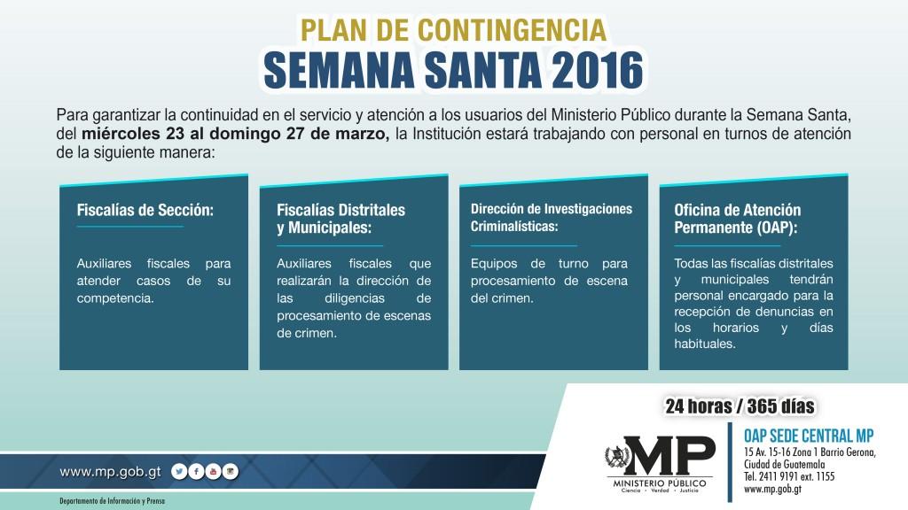 PLAN DE CONTINGENCIA SEMANA SANTA 2016